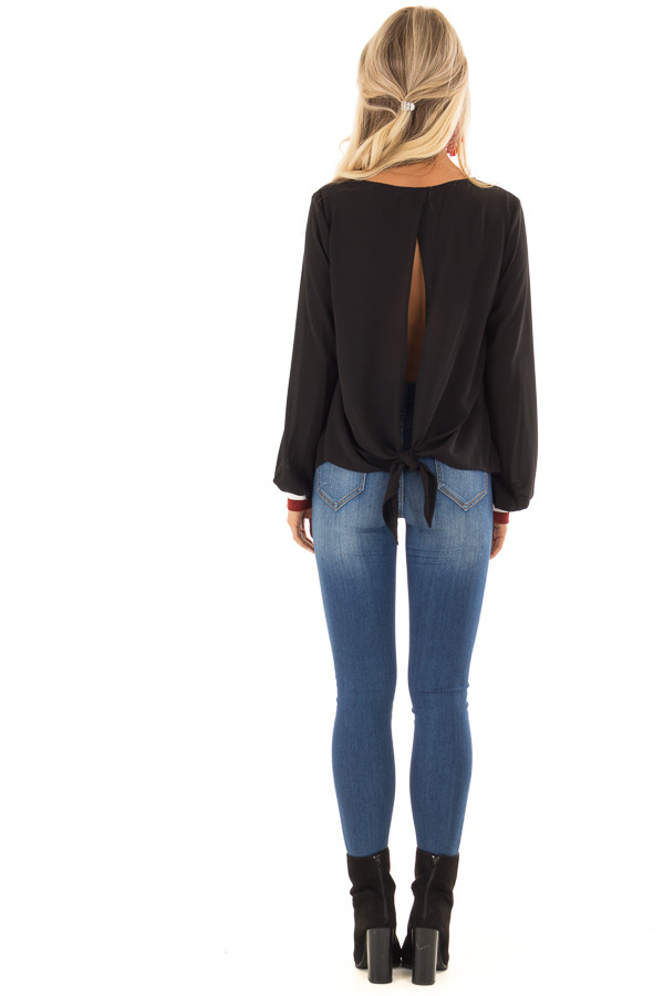 Black Tied Back Blouse with Crimson Elastic Cuffs back full body