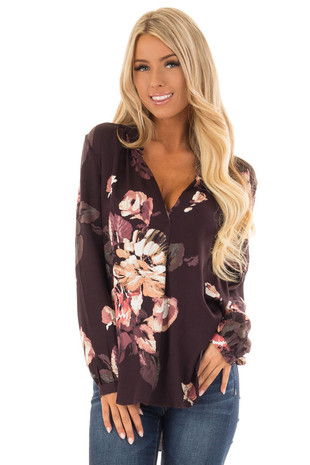 Dark Plum Floral Print V Neck Long Sleeve Top front close up