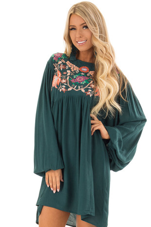 Teal and Floral Embroidered Babydoll Dress front close up