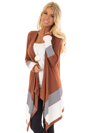 Rust Long Sleeve Waterfall Cardigan with Navy Stripes front close up