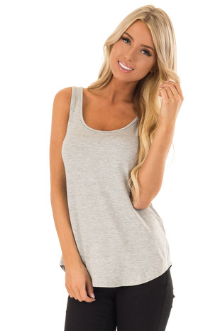 Heather Grey Loose Scoop Neck Rayon Tank Top front close up