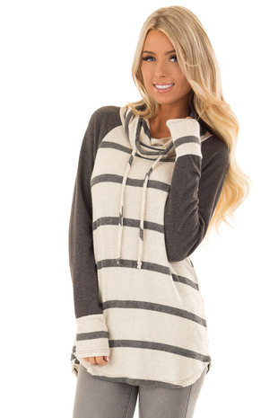 Oatmeal and Charcoal Striped Long Sleeve Cowl Neck Top front close up