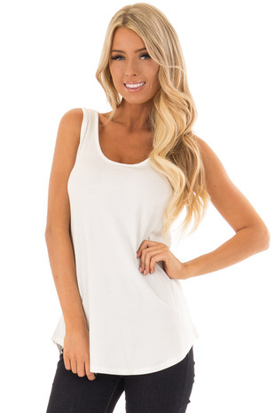 Ivory Loose Scoop Neck Rayon Tank Top front close up