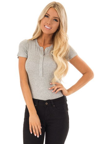 Heather Grey Short Sleeve Bodysuit with Snap Button Front front close up