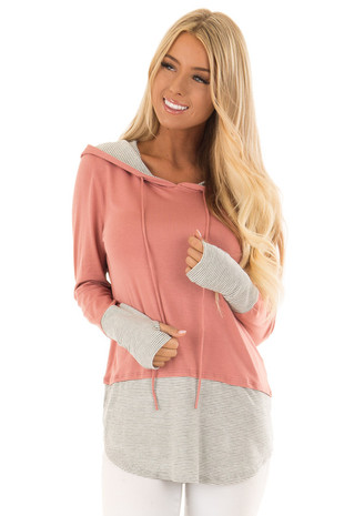 Salmon Pink Hoodie with Grey and Cream Stripe Contrast front close up