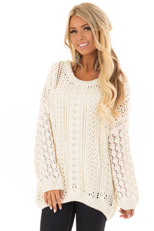 Cream Crochet Chenille Knit Pullover Sweater front close up