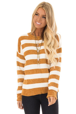 Mustard and White Striped Long Sleeve Knit Sweater front close up