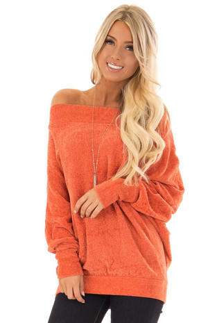 Sunset Orange Off the Shoulder Sweater with Dolman Sleeves front close up