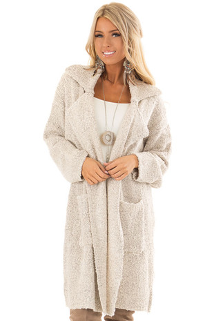 Oatmeal Long Knit Coat with Front Pockets front close up