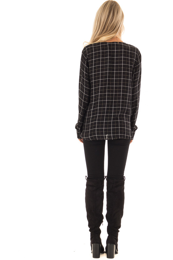 Black and White Plaid Button Up Shirt with Front Twist back full body