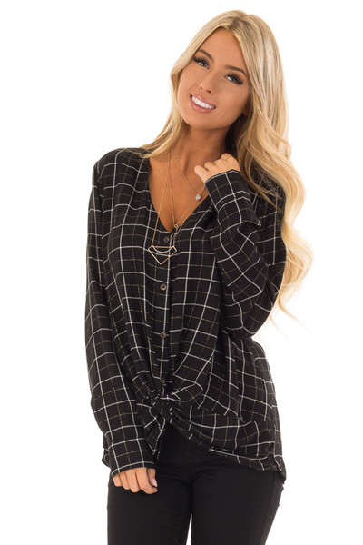 Black and White Plaid Button Up Shirt with Front Twist front close up