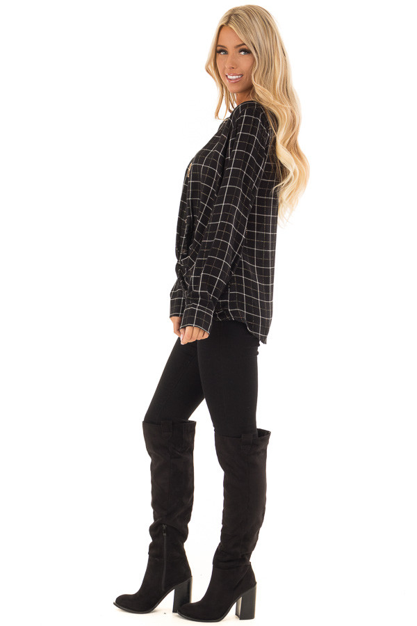 Black and White Plaid Button Up Shirt with Front Twist side full body