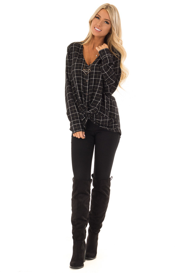 Black and White Plaid Button Up Shirt with Front Twist front full body