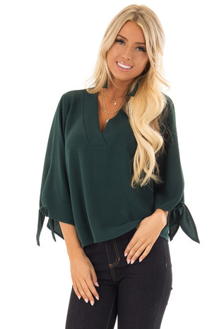Hunter Green V Neck Top with 3/4 Sleeves front close up