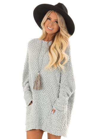 Dusty Baby Blue Long Sweater with Pockets front close up