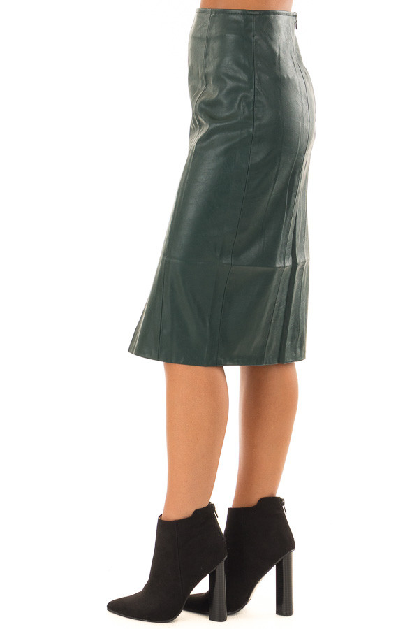 Forest Green Faux Leather Midi Skirt side view
