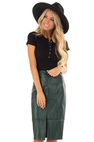 Forest Green Faux Leather Midi Skirt front close up