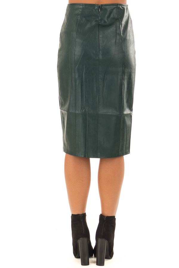 Forest Green Faux Leather Midi Skirt back view