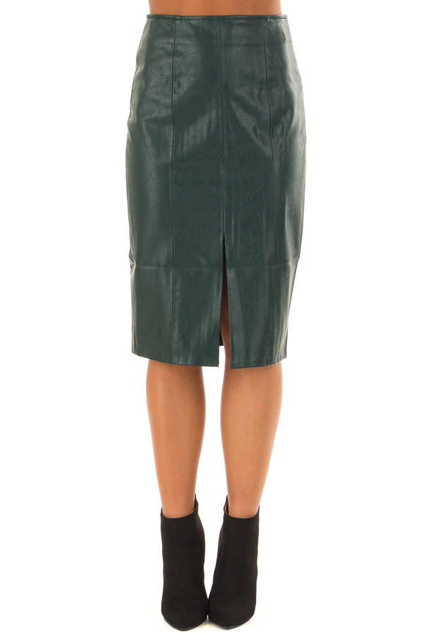 Forest Green Faux Leather Midi Skirt front view