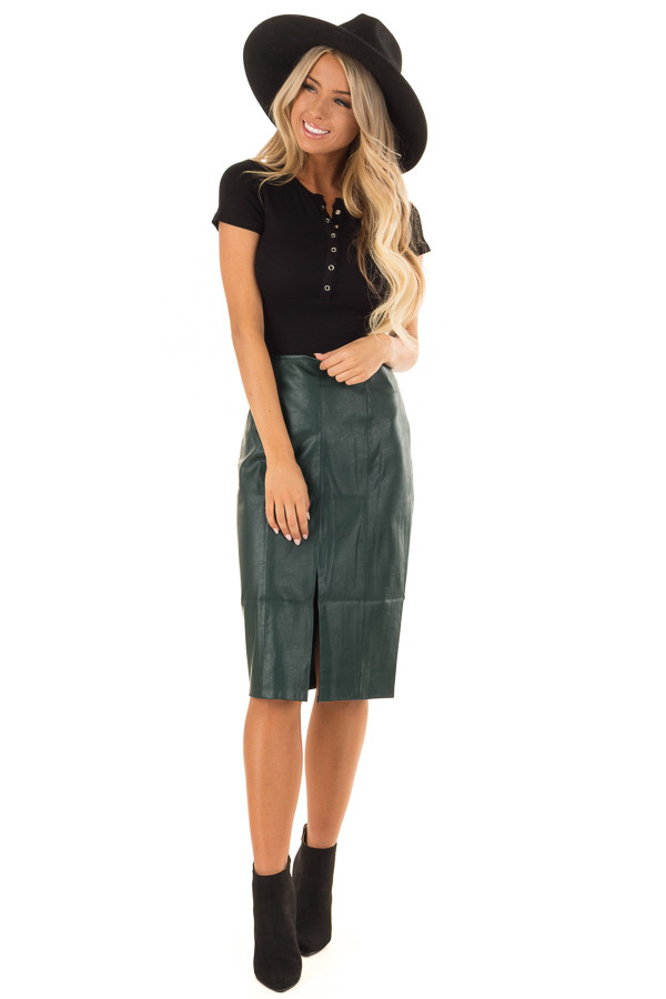 Forest Green Faux Leather Midi Skirt front full body