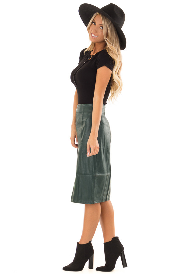Forest Green Faux Leather Midi Skirt side full body