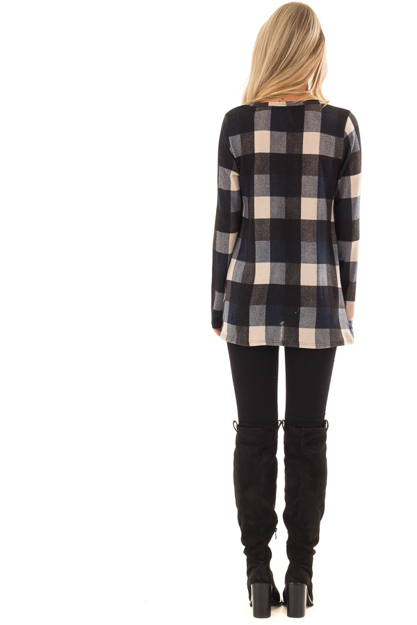 Navy and Oatmeal Checkered Long Sleeve Top with Twist Detail back full body