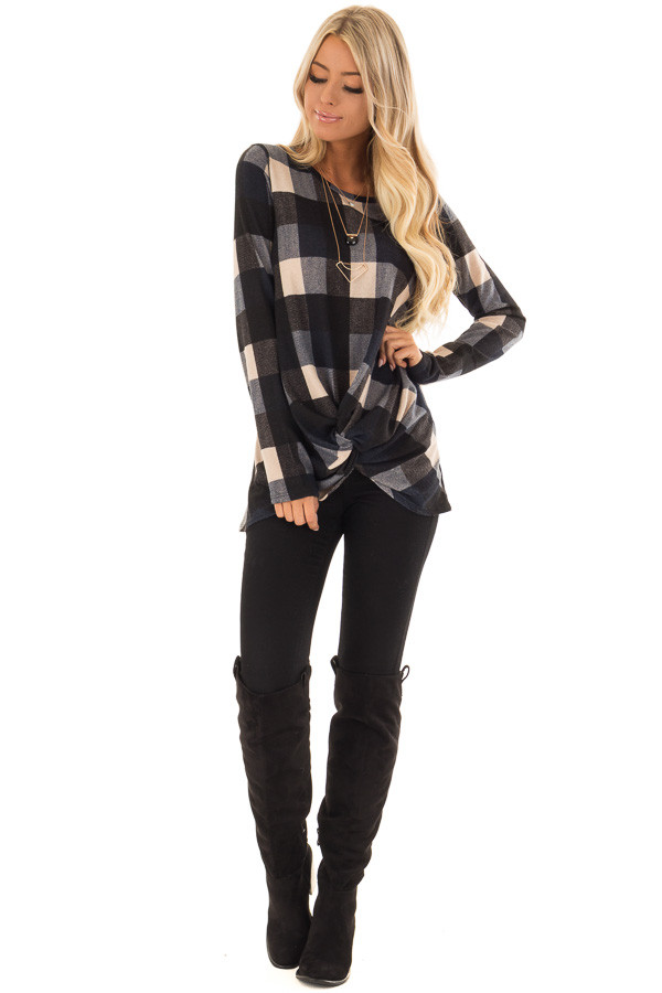 Navy and Oatmeal Checkered Long Sleeve Top with Twist Detail front full body