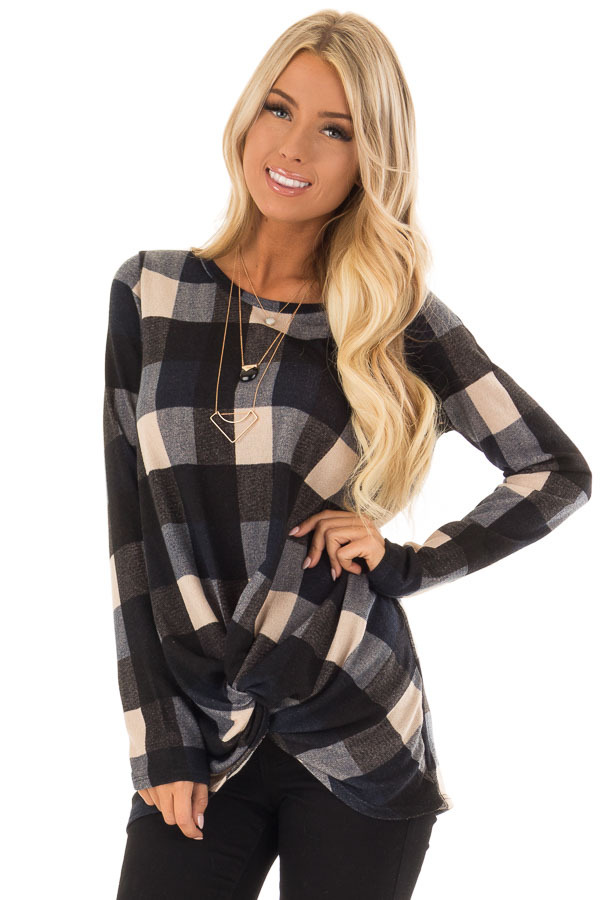 Navy and Oatmeal Checkered Long Sleeve Top with Twist Detail front close up
