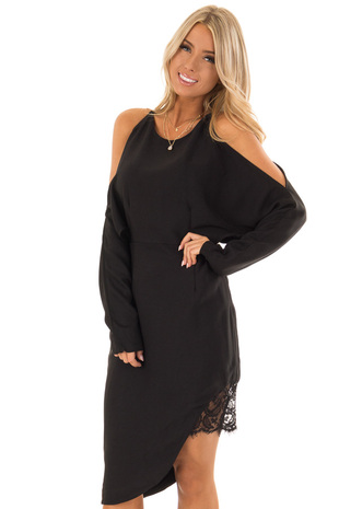 Black Long Sleeve Cold Shoulder Dress with Lace Trim front close up