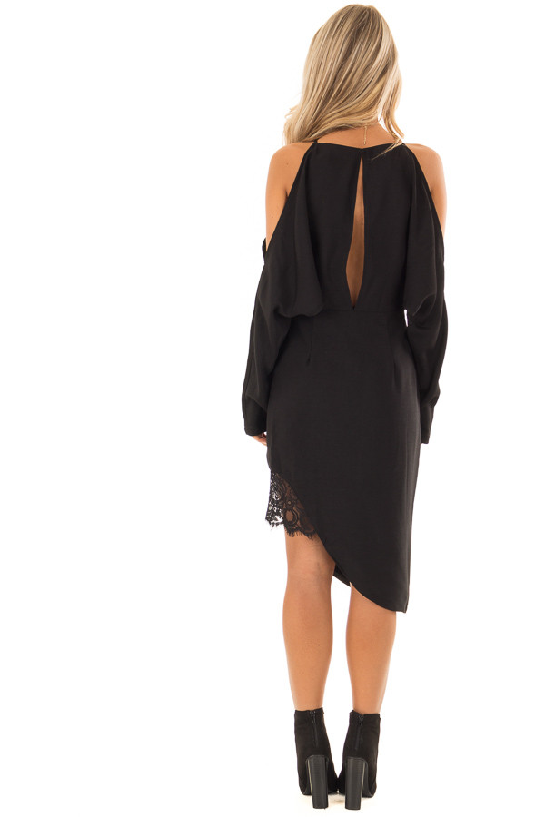 Black Long Sleeve Cold Shoulder Dress with Lace Trim back full body