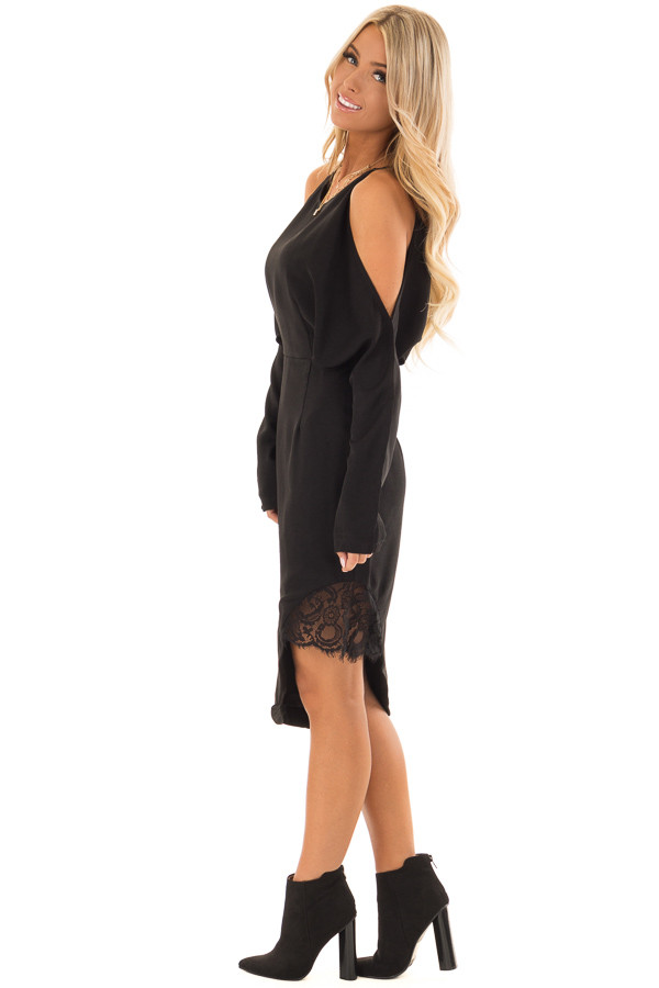 Black Long Sleeve Cold Shoulder Dress with Lace Trim side full body