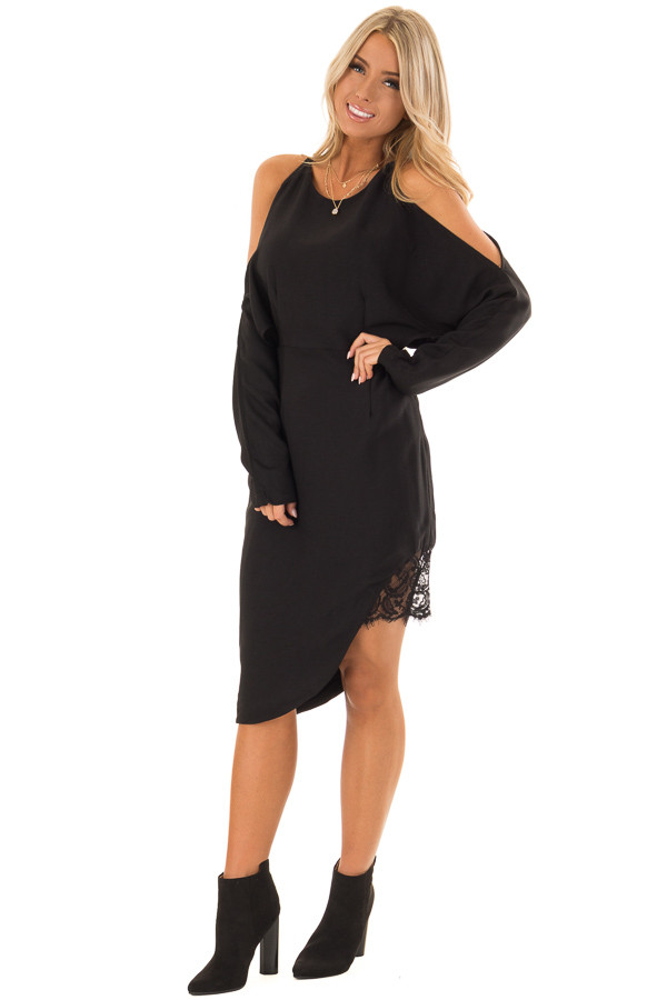 Black Long Sleeve Cold Shoulder Dress with Lace Trim front full body