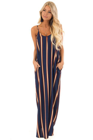 Navy Vertical Striped Sleeveless Maxi Dress with Pockets front full body