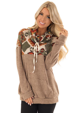 Taupe Tribal Cowl Neck Sweater with Front Kangaroo Pocket front close up