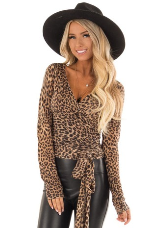 Taupe Leopard Print V Neck Wrap Sweater with Front Tie front close up