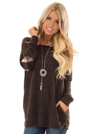 Chocolate Long Sleeve Top with Plaid Elbow Patches front close up