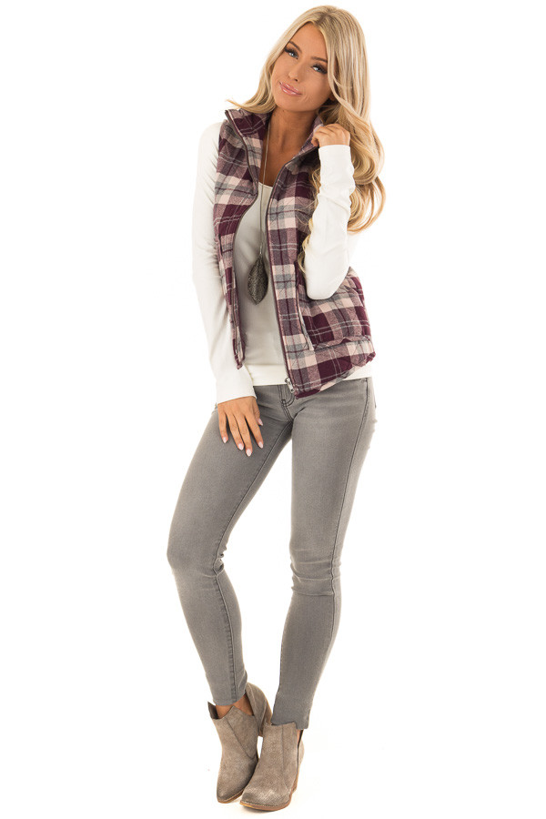 Eggplant Plaid Zipper Front Vest with Front Pockets front full body