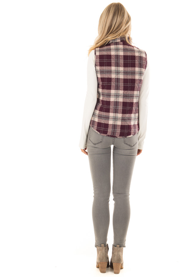 Eggplant Plaid Zipper Front Vest with Front Pockets back full body