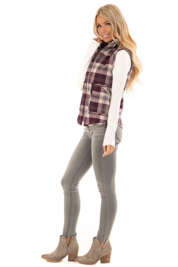 Eggplant Plaid Zipper Front Vest with Front Pockets side full body