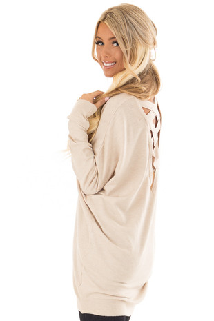 Oatmeal Super Comfy Sweater with Criss Cross Band Back side close up