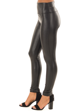 Black Faux Liquid Leather High Waisted Leggings side view