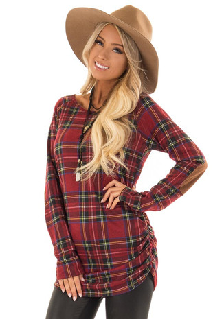 Ruby Red Plaid Top with Ruched Sides and Elbow Patches front close up