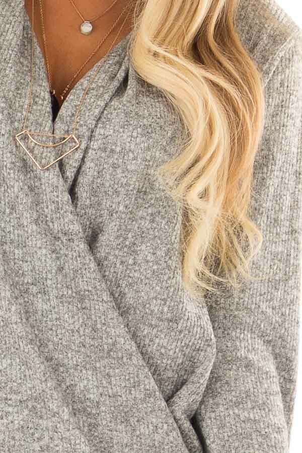 Heather Grey Two Tone Ribbed Top with Overlapping Front detail