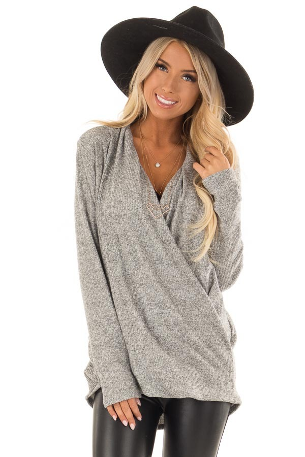 Heather Grey Two Tone Ribbed Top with Overlapping Front front close up