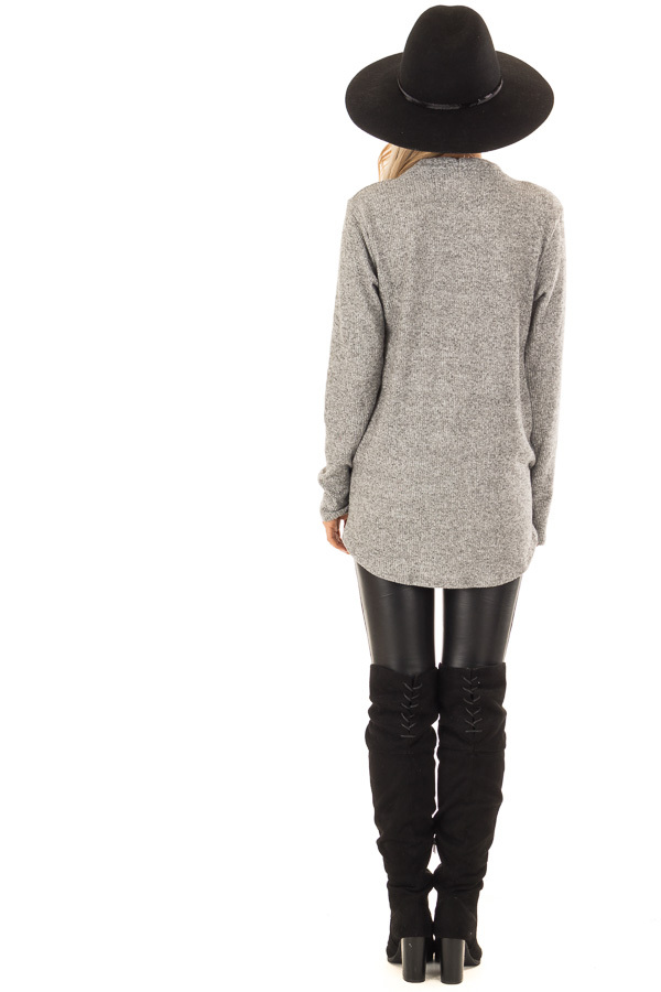 Heather Grey Two Tone Ribbed Top with Overlapping Front back full body