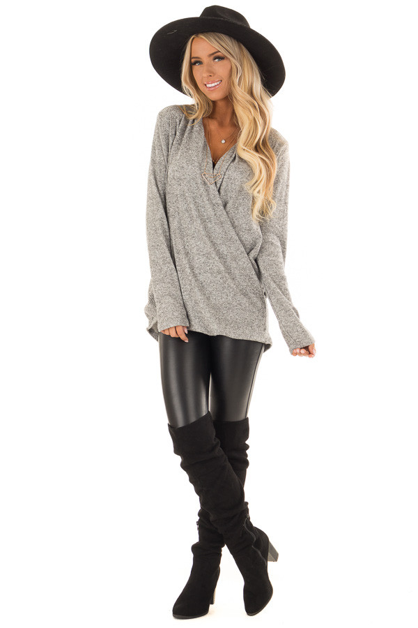 Heather Grey Two Tone Ribbed Top with Overlapping Front front full body