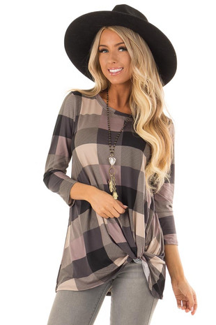 Black and Lavender Plaid Top with Front Twist Detail front close up