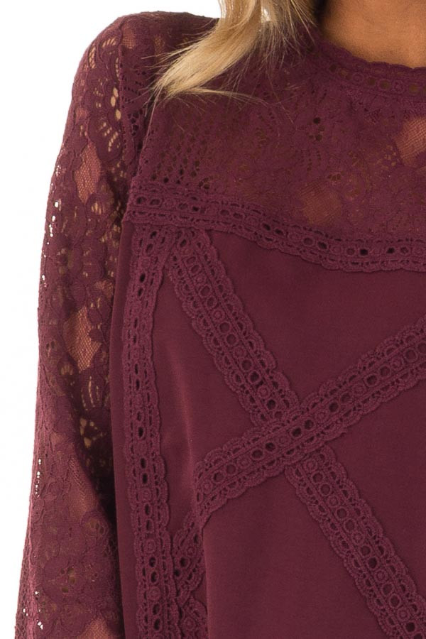 Dark Wine 3/4 Sleeve Dress with Sheer Lace Yoke Detail detail