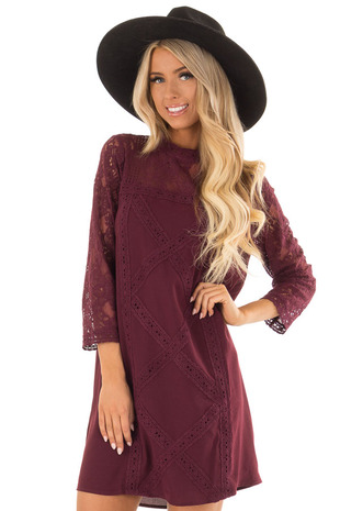 Dark Wine 3/4 Sleeve Dress with Sheer Lace Yoke Detail front close up