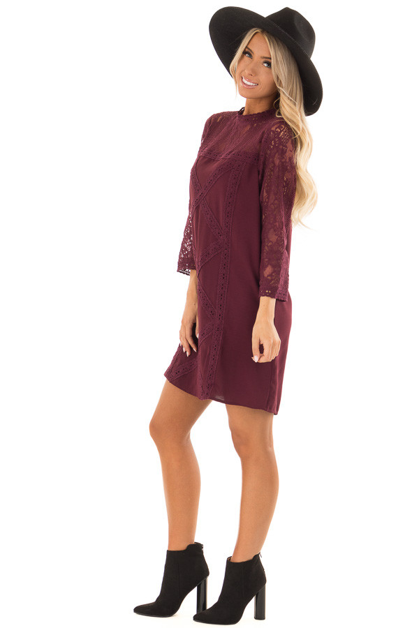 Dark Wine 3/4 Sleeve Dress with Sheer Lace Yoke Detail side full body